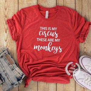 🌸 NEW Graphic Tee Red My Circus My Monkeys